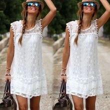 2016 New Arrivals Women Solid White Lace Dress Sleeveless Sexy Hollow Out Plus Size Boho Mini Casual Dresses Vestidos De Festa