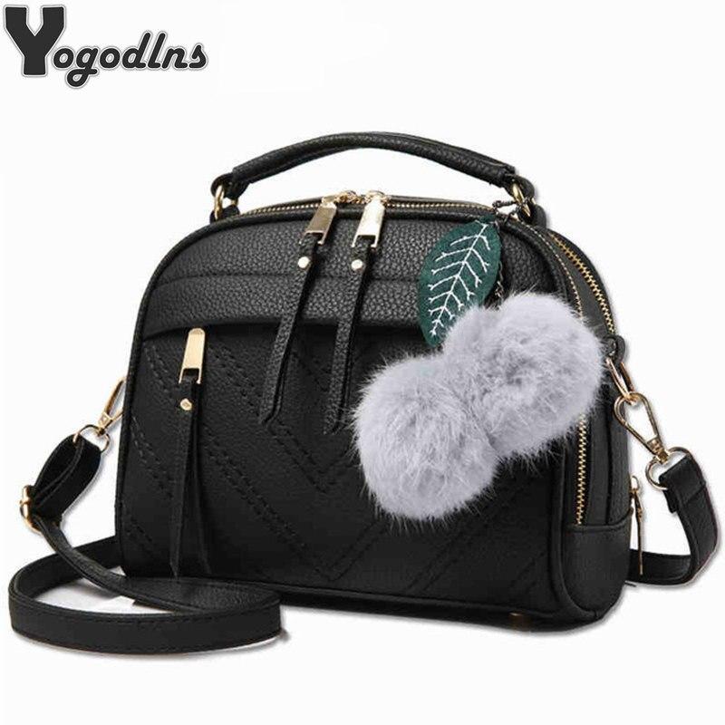 все цены на Women Messenger Bag PU Leather Solid Color Small Flap Bag Hairball Decoration Shoulder Bag Crossbody Bag Girls Clutches Purses