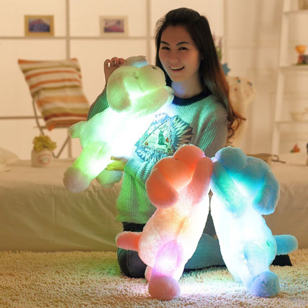 50Cm Colorful Night Light Led Glowing Dogs Luminous Plush Children Toys For Girl Soft Plush Toys For Kids Toys Festival Toy creative mushroom kids gift rainbow colorful led night light boon glowing led lamp with removable balls children sleeping toy