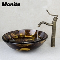 Washbasin 2014 Tempered Glass Hand Painted Waterfall 414996006 Lavatory Bathroom Sink Bath Combine Brass Faucets Mixers