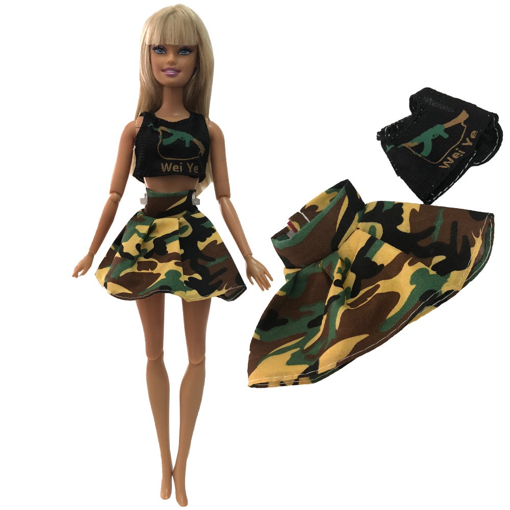 NK Doll Army Dress  Military Uniform Female Vest Shorts Top Cosplay Outfit For Barbie Doll Baby Toys  Girl Gift Kids 003C 5X