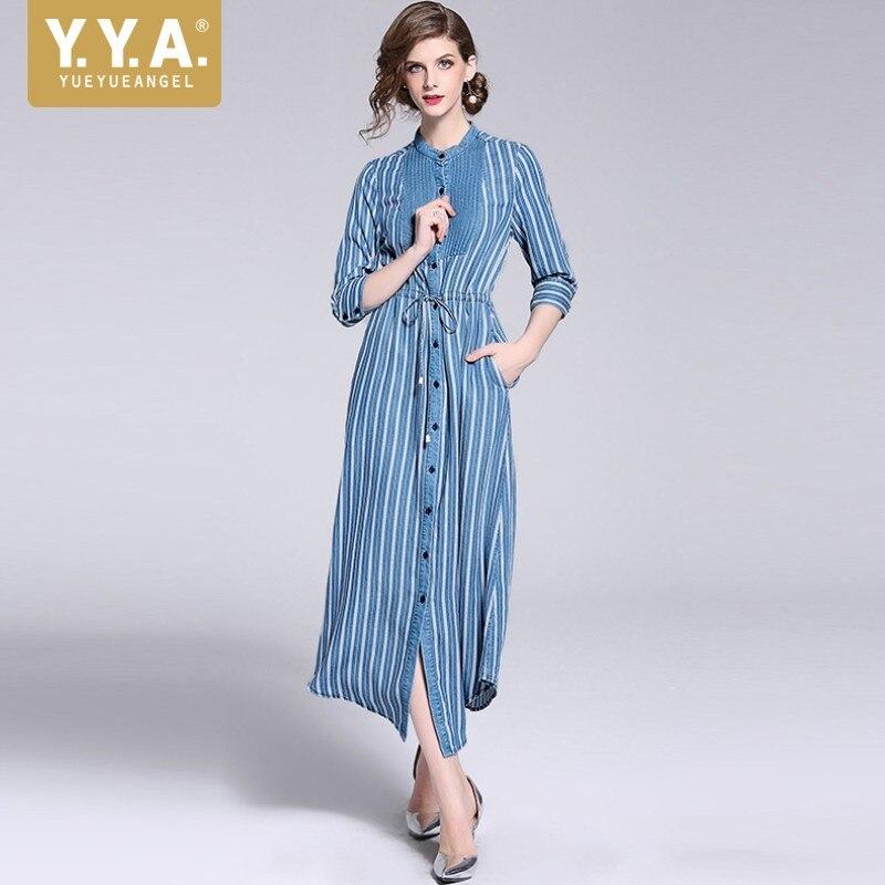 Printemps Same Longue Chaude Femmes Bureau Vintage Robes Robe Élégant Automne 2018 Pour Chemise Picture Rayé As Femme Les 4qHS4wrZ