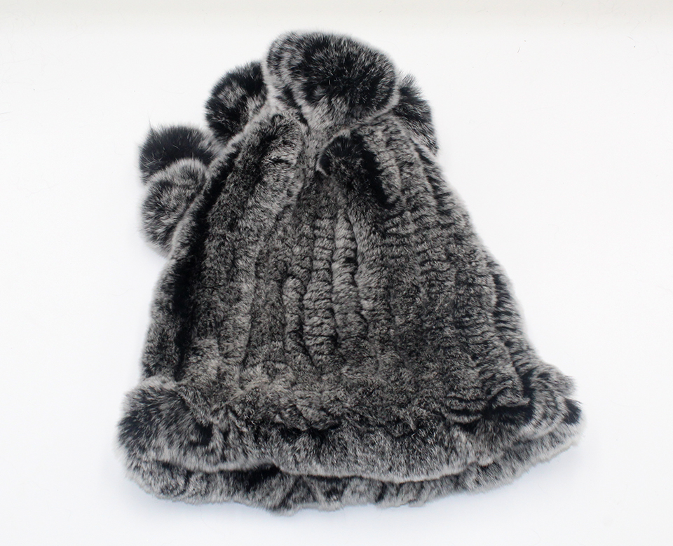 Womens Winter Hats Scarf Knitted Real Rabbit Fur Hat Natural fur Neck Scarf Girls Winter Warm Hat Beanies (22)