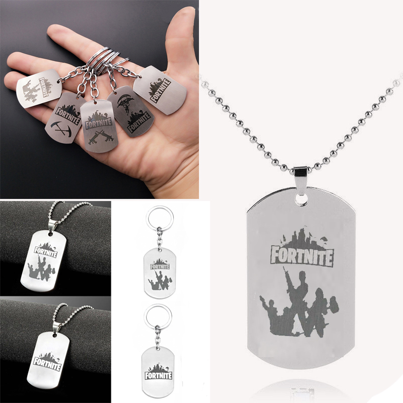 Hot Classic FPS Game Fortnite Logo Necklace Stainless Steel Pendant Laser Printing Personalized Jewelry Do not fade 20 Style