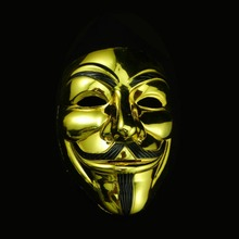 V For Vendetta Gold Silver Mask Anonymous Guy Fawkes Cosplay