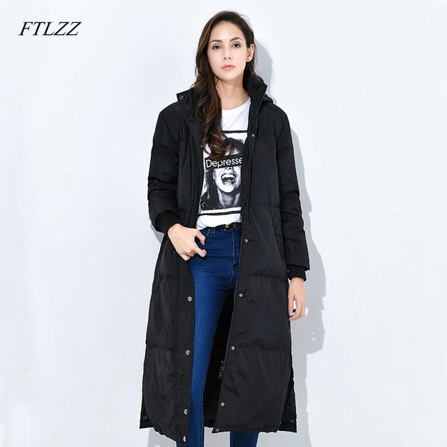 14cdbdb51582b Ftlzz New Winter Women Down Coats Medium long 90% White Duck Down Jacket  Hooded Parkas Thickness Outwear Loose Fit Warm Overcoat