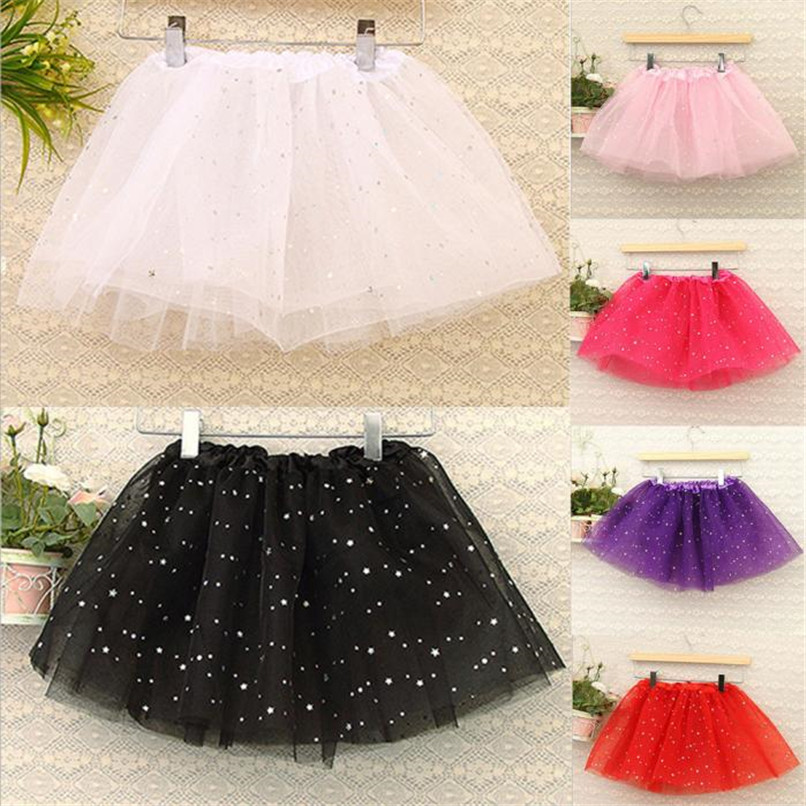Free size Summer Kids Baby Star Glitter Dance Tutu Skirt For Girl Sequin Tulle Toddler Lace Skirt Children Chiffon 6 Color A826 stylish chiffon solid color plus size maxi skirt for women