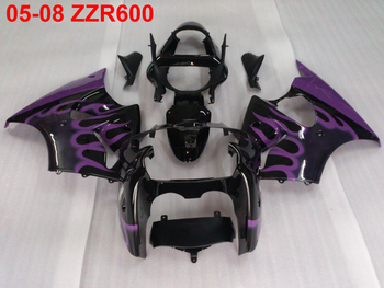 Injection mold high quality fairing kit for Kawasaki Ninja ZZR600 05 06 07 08 purple flaems black fairings ZZR600 2005-2008 TW34