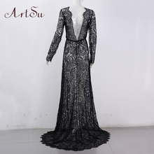 ArtSu Women See Through Floral V-Neck Elegant Lace Long Dress Sexy Maxi Autumn Winter Evening Party Dresses Vestidos ASDR20034