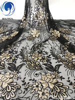 BEAUTIFICAL african lace fabrics New arrival nigerian net lace sequins embroidery fabric for dress 5yards/lot ML1N898