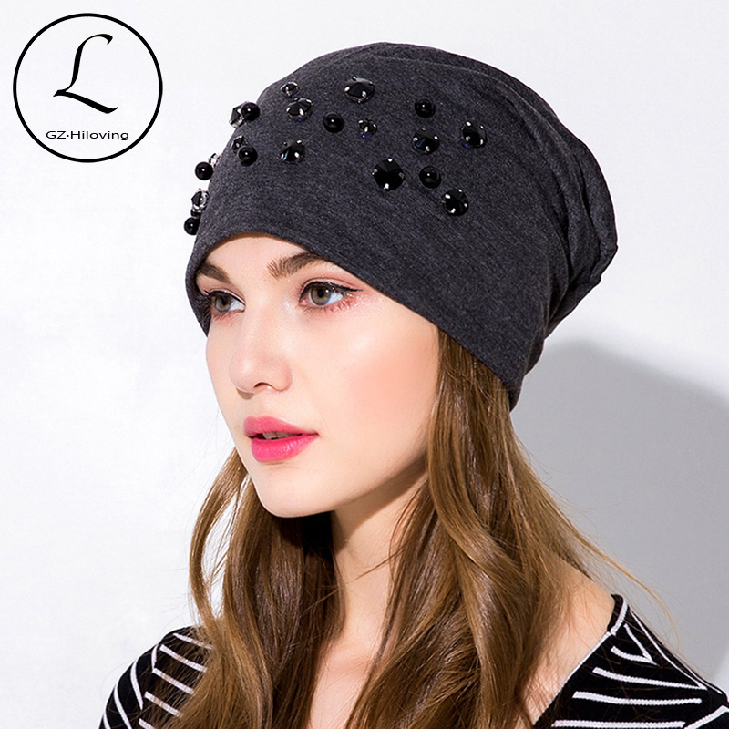 fd1a45996a8 GZHILOVINGL Women Beanie Knitted Winter Solid Color Rhinestone Slouch Hats  Skullies Chapeu Feminino