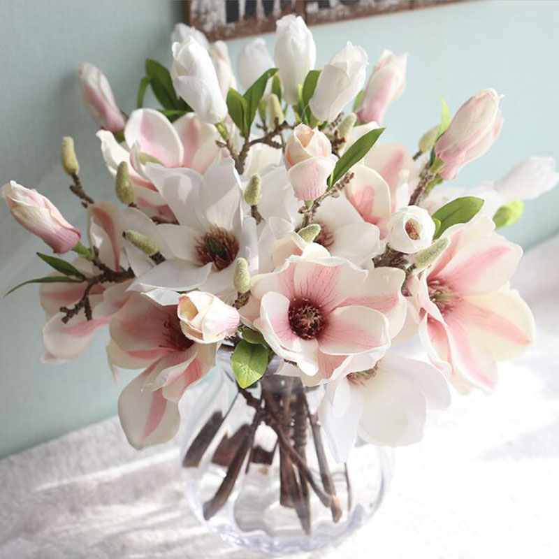 Artificial Flower Magnolia Wedding Decorative Silk Flower 2 Head Short  Branch Cheap Fake Flowers Wedding Party