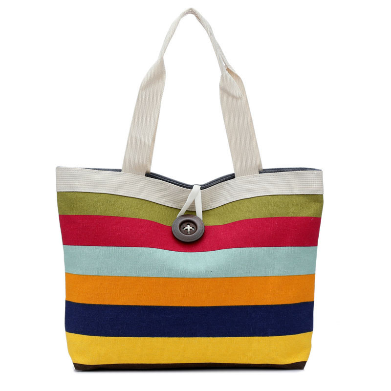 Summer Canvas Shopper Bag Striped Rainbow Prints Beach Bags Tote Women Ladies Girls Shoulder Bag Casual Shopping Handbag3.22