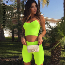 Cryptographic Neon Green Fashion Womens Sets Camis Crop Tops Tank Summer Sexy Outfits Two Pieces Set Casual Biker Shorts