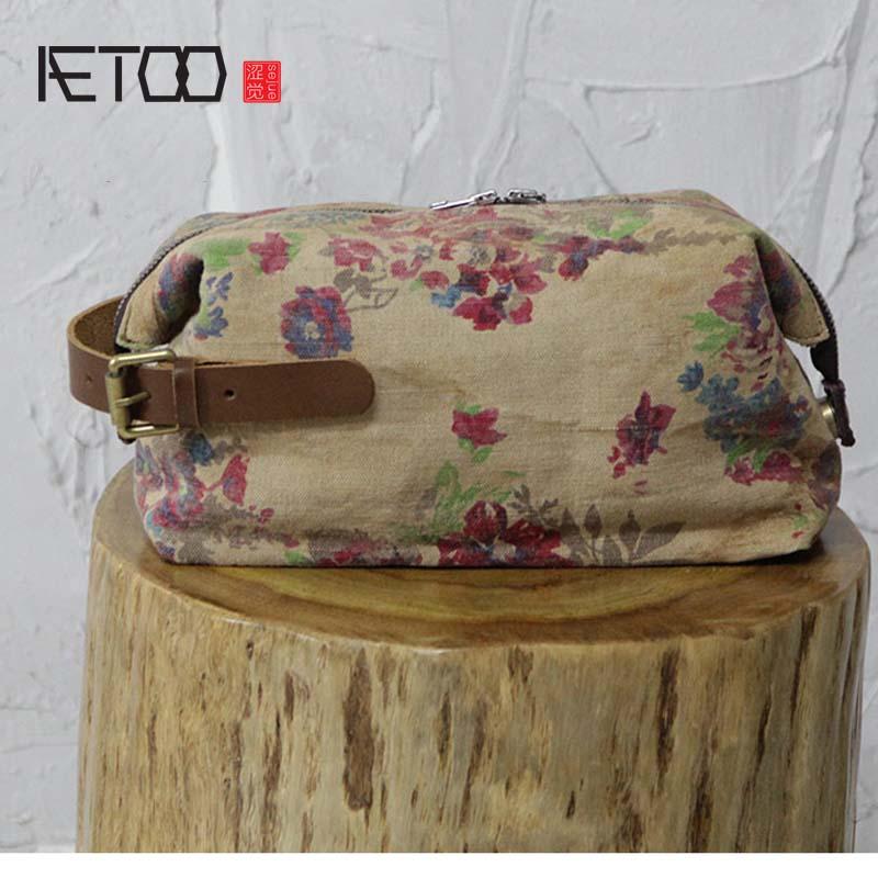 AETOO Original vintage linen bag casual handbag cloth hand prints carry cloth simple cloth large capacity holding day clutched
