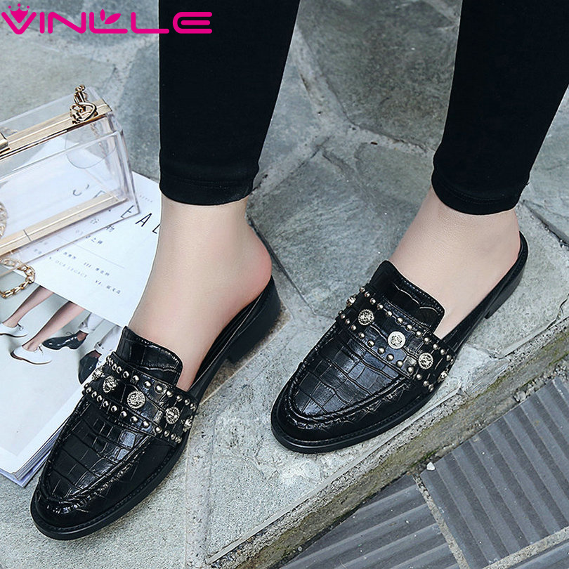 ФОТО VINLLE 2017 Women Pumps Square Low Heel British Rhinestone Party Shoes Real Leather Pumps Slip on Women Wedding Shoes Size 34-39