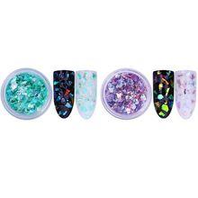 2,0 г голографическая Лазерная пудра для ногтей, великолепное зеркало-хамелеон, пудра для маникюра, хромированные пигментные блестки, 4 упаковки