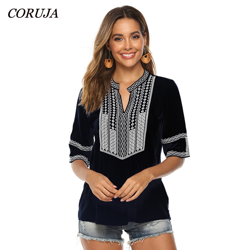 CORUJA Boutique Women Clothing V Neck Ethnic Style Boho Embroidered Shirt Short Sleeve Tops Casual Blouses S-XXXL