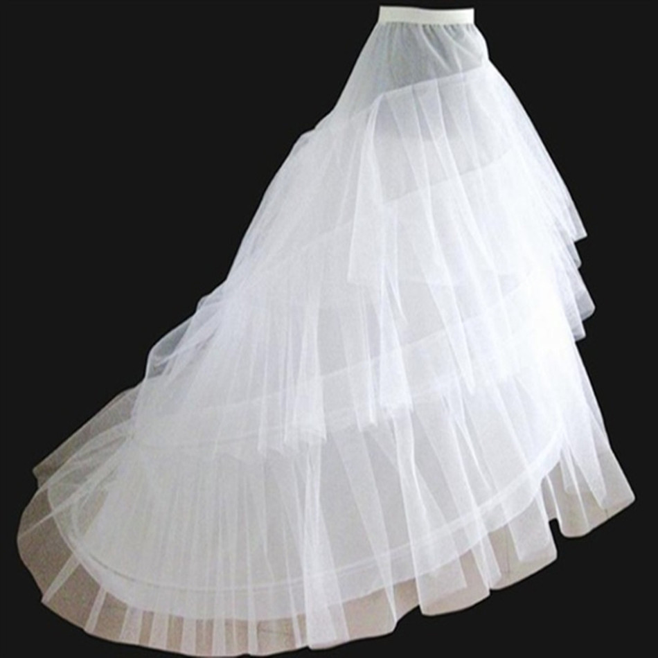 Bridal petticoat big train vestido longo jupon cheap tulle for Tulle petticoat for wedding dress