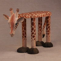 Hand Carved Solid Wood Giraffe Shoes Stool Ornaments Seat Animal Shaped Wooden Chair for Baby Kids 1 4 Years Designer Furniture