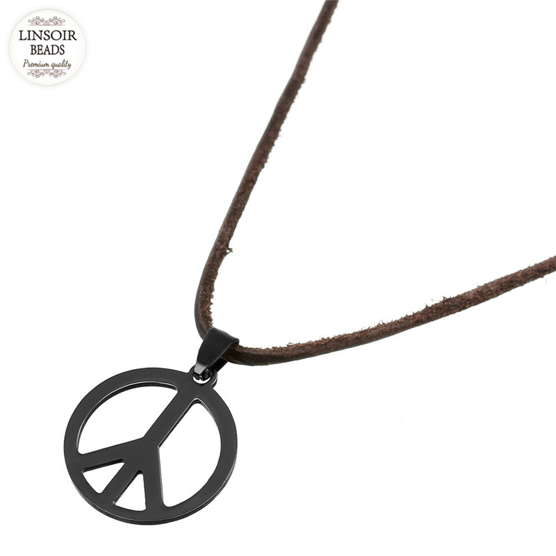 LINSOIR Black Hollow Out Peace Sign Love Hippie Pendant Stainless Steel Necklace Mens Brown Genuine Leather Necklace Jewelry