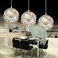 Led bonito flor pingente de cristal acessórios de alumínio de pingente de cristal de luz para quarto de jantar lustres de sala