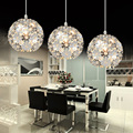 led light suspension Silver Flower Crystal pendant lights Fixtures Aluminum Hanging Pendant Lamp Crystal Light Dining Bedroom