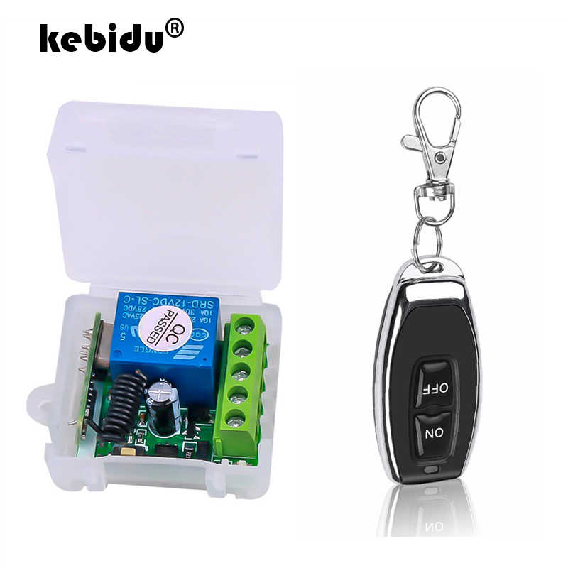 kebidu DC12V 10A Relay 1 CH Wireless RF Remote Control Switch Transmitter with Receiver Module 433mhz LED Remote Control
