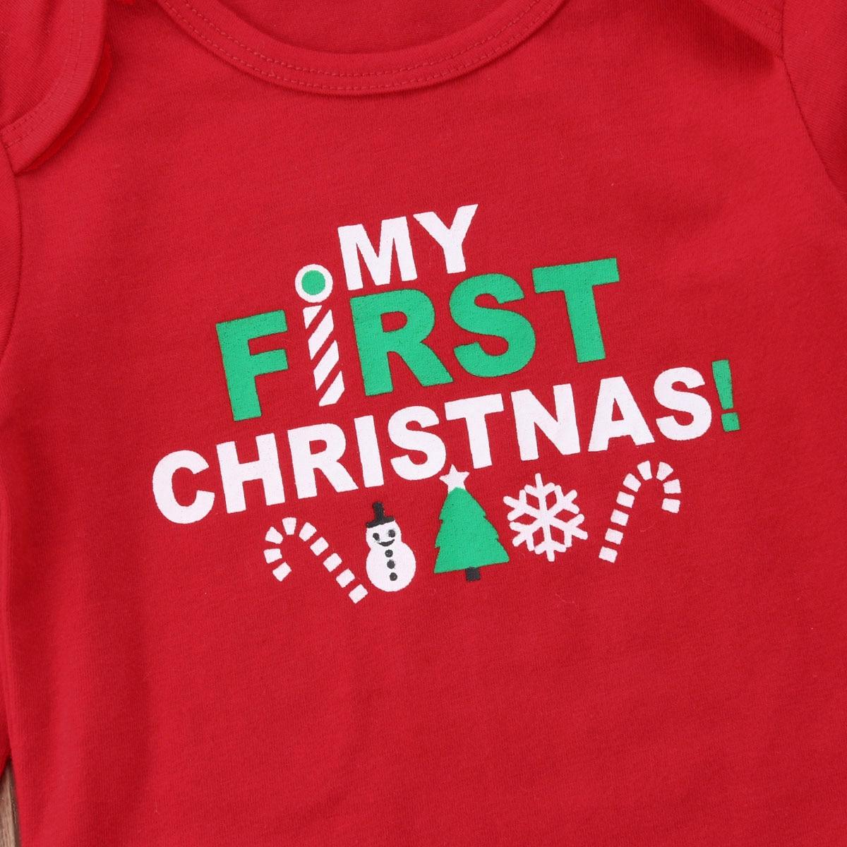 5ea68d2a7 Mi primera Navidad bebé recién nacido manga larga algodón mameluco ...