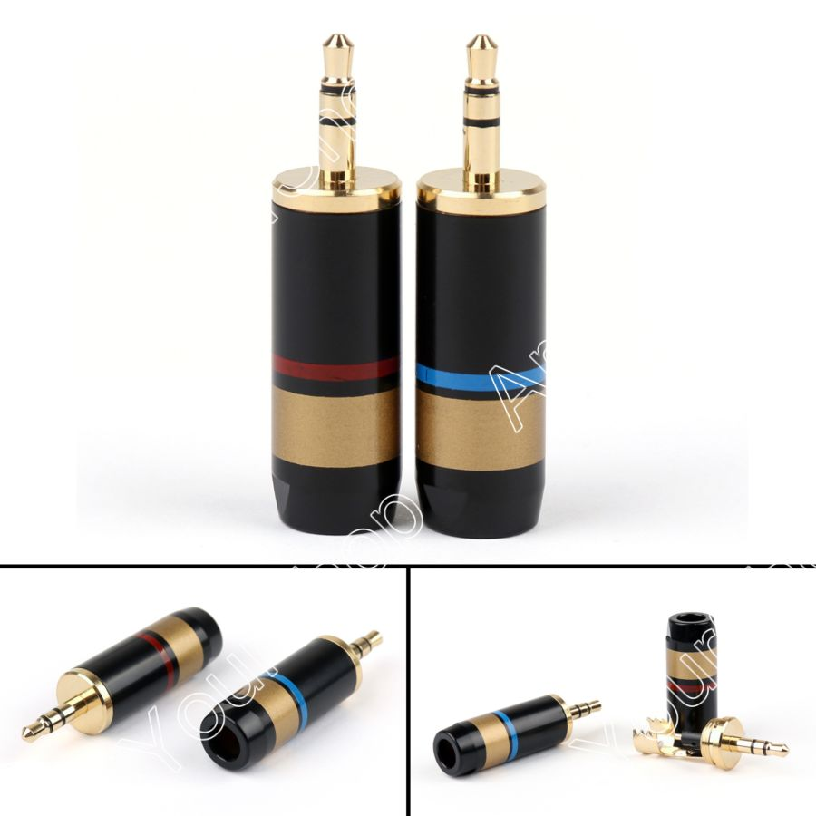 20PCS Copper Stereo 3 Pole 3.5mm Soldering Repair Headphone Jack Plug Cable Audio for 6.5mm Cable Gold Plated Signal Transfer high quality stereo ranko 3 5mm 3 pole 90 degree l shape repair headphone jack plug cable solder free shipping
