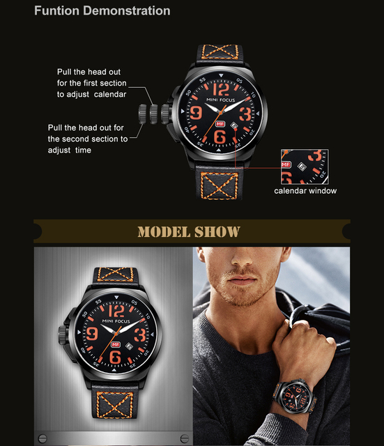 MINI FOCUS Men Watches Top Brand Luxury Quartz Watch Green Genuine Leather Strap Calendar Arabic Number Left-handed montre homme 3
