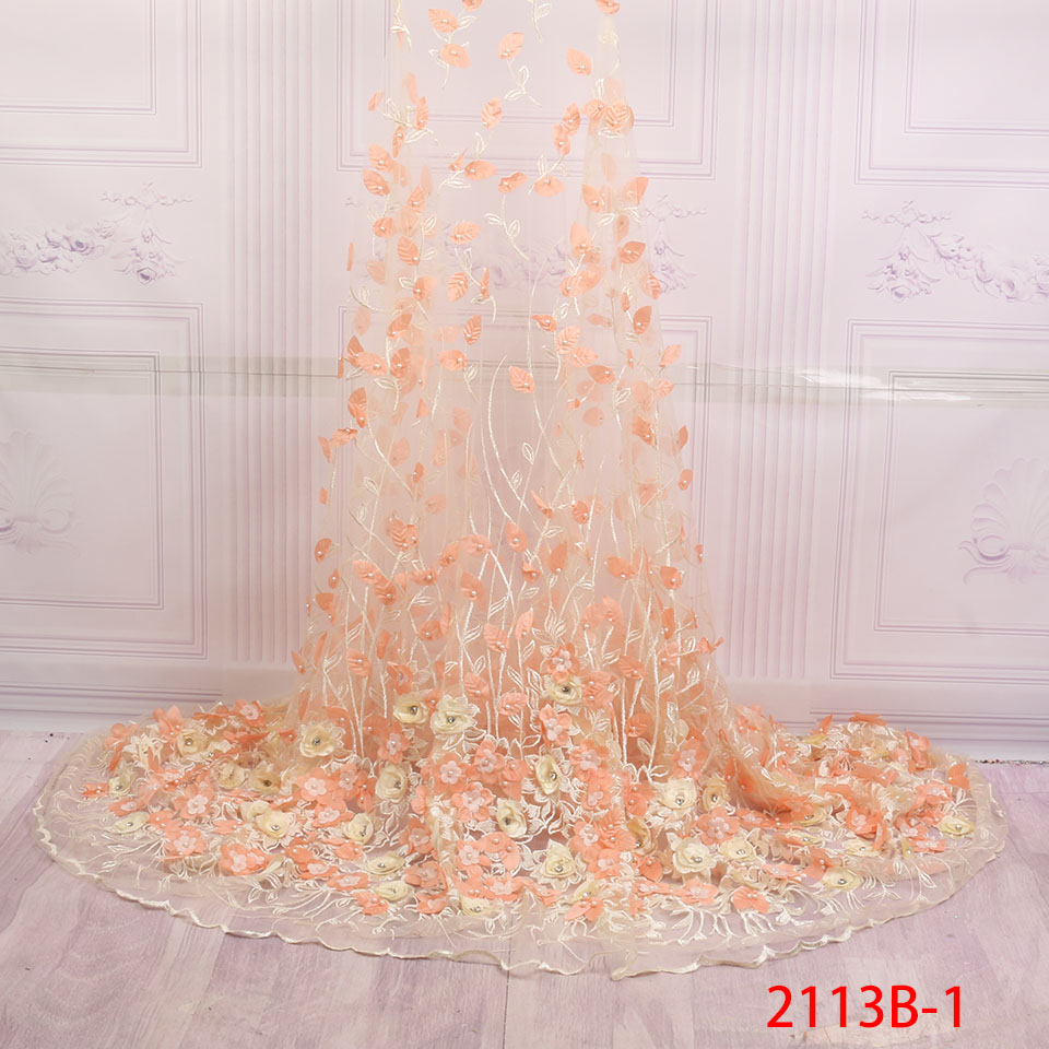 3d Lace Fabric 2018 High Quality Lace Embroidered Fabric Nigerian Beaded With Diamond Material Tulle Laces Dress XZ2113B-13d Lace Fabric 2018 High Quality Lace Embroidered Fabric Nigerian Beaded With Diamond Material Tulle Laces Dress XZ2113B-1