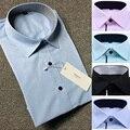 Blanco Negro Azul Rosa Marca Male Oxford Camisa de Los Hombres de Manga Corta Hierro no Regular Fit Negocios Camisas Formales Para Los Hombres Más El Tamaño 5XL