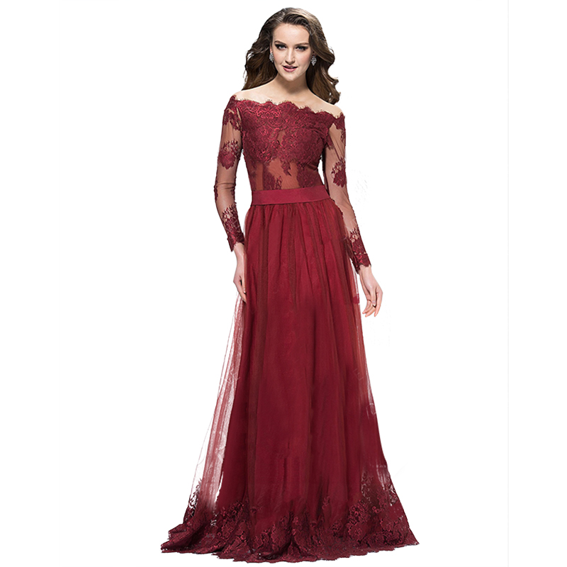 Burgundy Mother Of The Bride Dress 2017 Lace Boat Neck