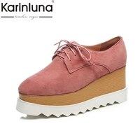 Karinluna 2018 kid suede大サイズ33-42ウェッジハイヒールレースアップ黒ピンクの靴女性の靴プラットフォーム女性パンプ