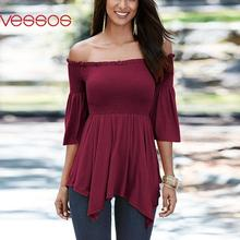 Women Female Summer Fashion Sexy Off-Shoulder Irregular Top Fit Sheathy Ruffled Blouses Wine Red S/M/L/XL Blusas Y Camisas Mujer