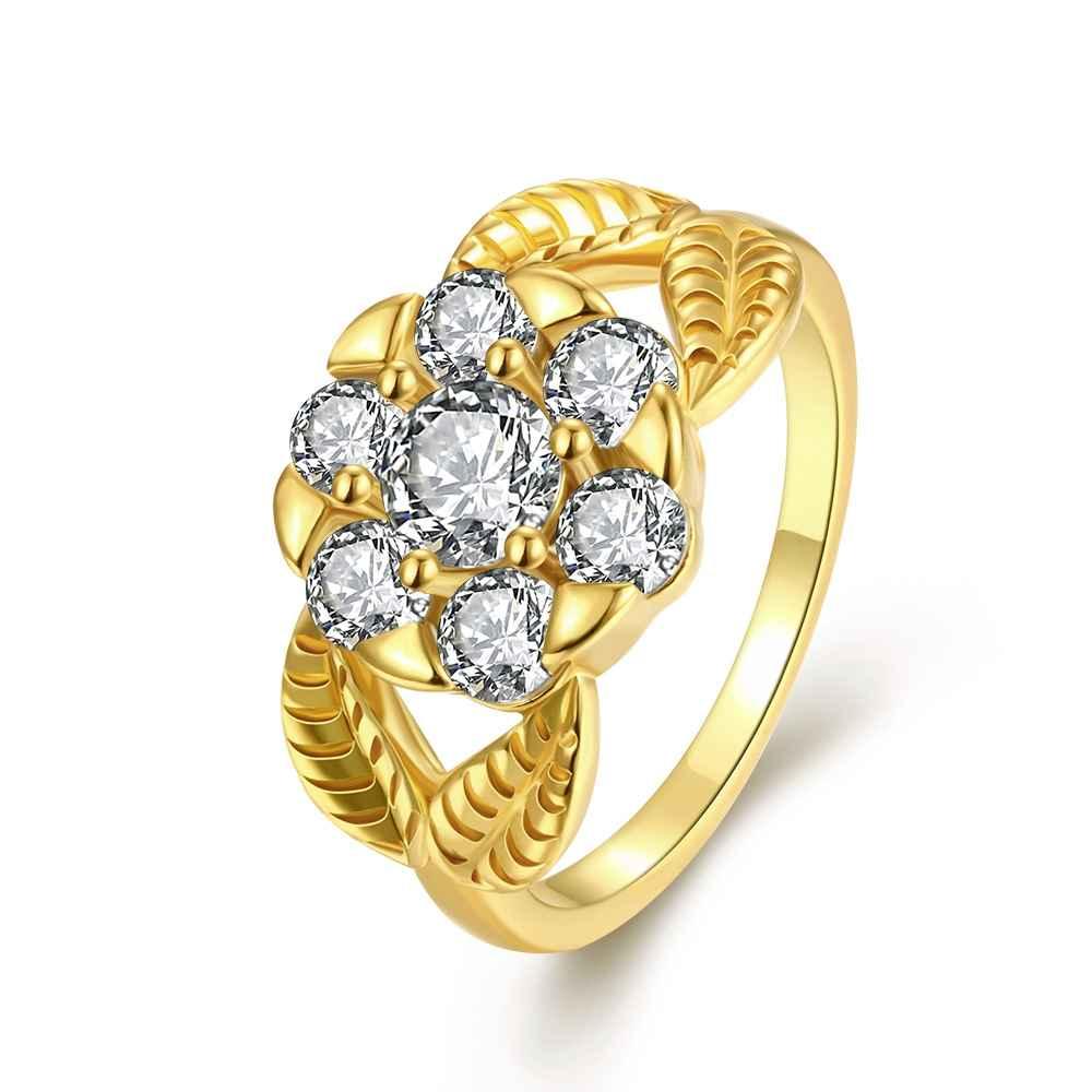 360183340c2a2 مجوهرات الذهب اللون خواتم للرجال كريستال زهرة آنيل دي أورو فحام حامية فام