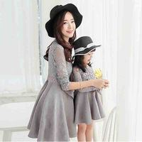 New Fashion Mother And Girls Dress High Quality Elegant Mom And Daughter Match Dress Lace Autumn
