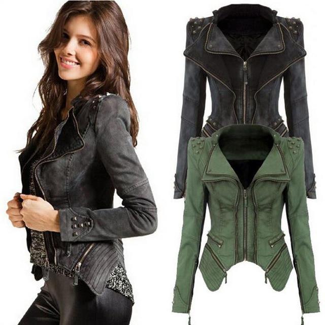 714175539ce Winter Bolero Denim Jacket Women Outwear Punk Studded Shrug Rivet Zipper  Cropped Vintage Geek Bomber Jacket