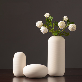 Ribbed White Vases