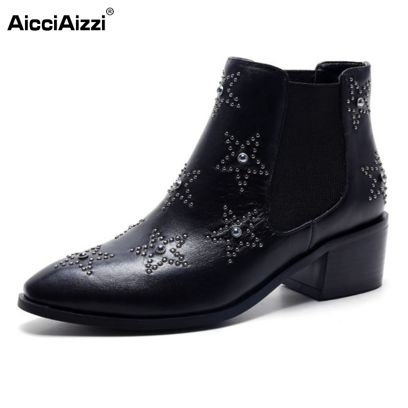 Women Ankle Boots Classics Star Design Women Autumn Winter Boots Pointed Toe Platform Shoes Square Heels Size 33-40