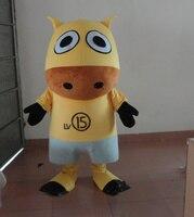 Желтый корова Маскоты костюм для взрослых маскарадный костюм для Хэллоуин Вечерние