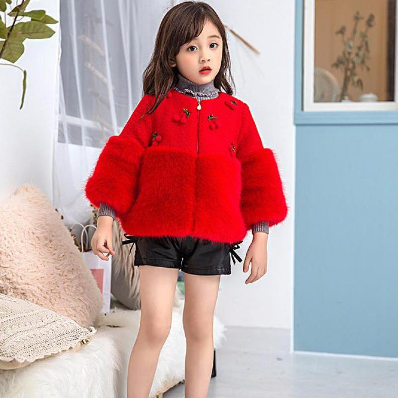 Baby Girls Winter Warm Coats Plush Long Sleeves Fashion Solid Pink Red Casual Clothing For 18M-6T Kids Girl Sweet Clothes 4dp025
