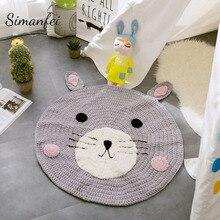 Simanfei Cartoon Hand Woven Carpet Acrylic Fox Bear Decor
