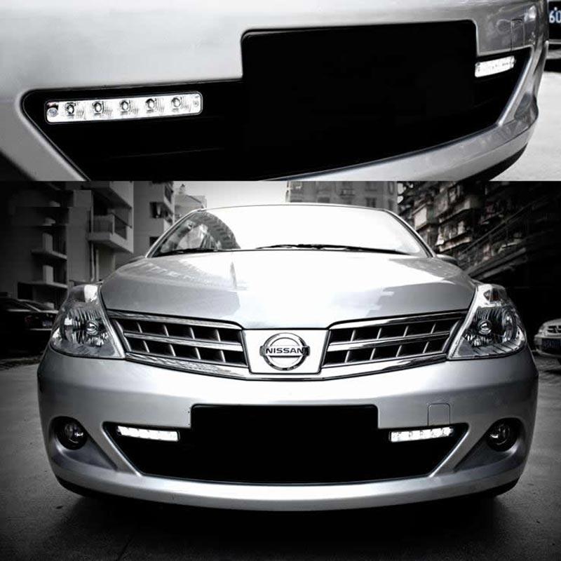 ФОТО One pair high power 10W 12V auto led light drl daytime running light 5 led drl daylight kit 6000K ultra white drl lamp for Mazda