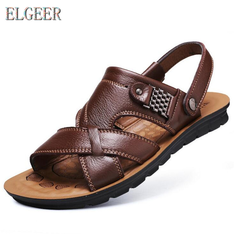 2018 summer beach shoes men's trend casual non-slip sandals 100% leather men's sandals shoe(China)