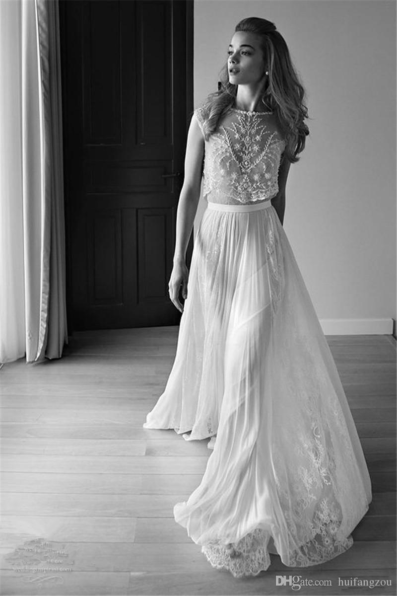 US $129.5 30% OFF|2 Piece Wedding Dress Plus Size Photo 2018 lace vintage  wedding dresses beach bohemian boho plus-in Wedding Dresses from Weddings &  ...