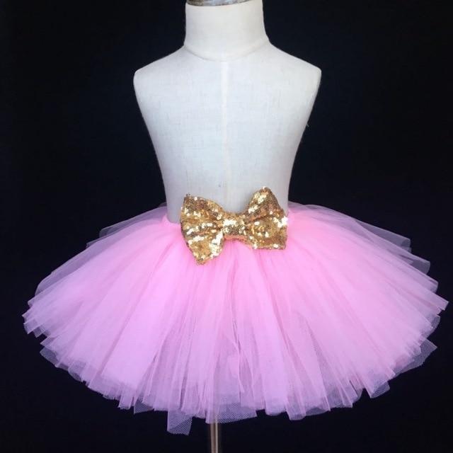 e2dff359dc9 Filles rose Tutu jupe bébé moelleux Tulle jupe fête d anniversaire jupe  avec or Satin