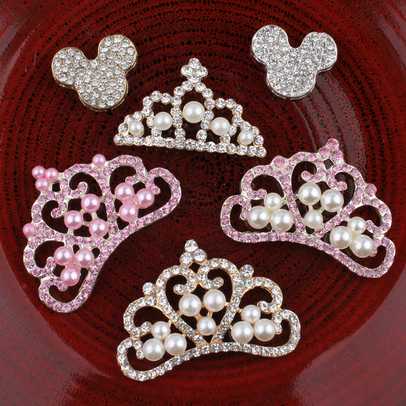 30PCS Vintage Crown/mouse Metal Rhinestone Buttons Bling Alloy Flatback Flower Centre Crystal Buttons For Hair Accessories