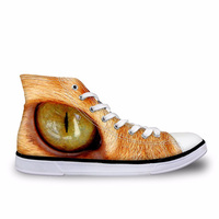 Customized High Top Autumn Women Lace up Shoes Cool Cat Eyes Pattern Casual Canvas Shoes for Women Vulcanize Female Shoes 2019